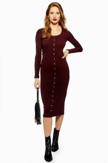 Wine Red Women Bodycon Sexy Knit Dresses Wholesale