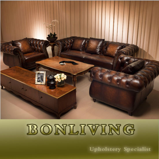 Hot Item Top Quality Brown Color Vintage Chesterfield Sofa A3