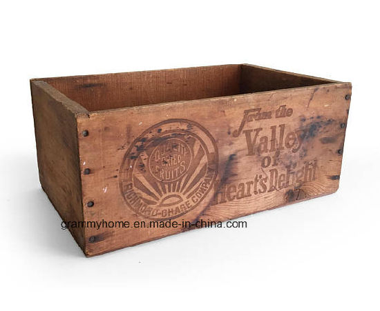 China Antique Fruit Wood Crate Primitive Rustic Wooden Storage Crate