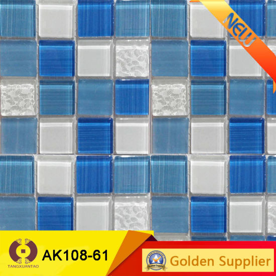 Building Material Swimming Pool Crystal Glass Mosaic Tile (J64) pictures & photos