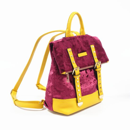 Fashion Flannel Leather Jute Tote Second Hand Bags Promotional Bagpack Girls Folding Backpacks Price for Women W612-3 pictures & photos
