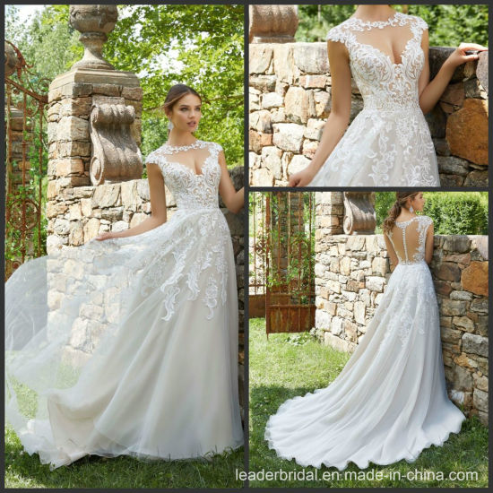 Sleeveless Lace Bridal Gown Tulle Organza Beach Wedding Dress M5715