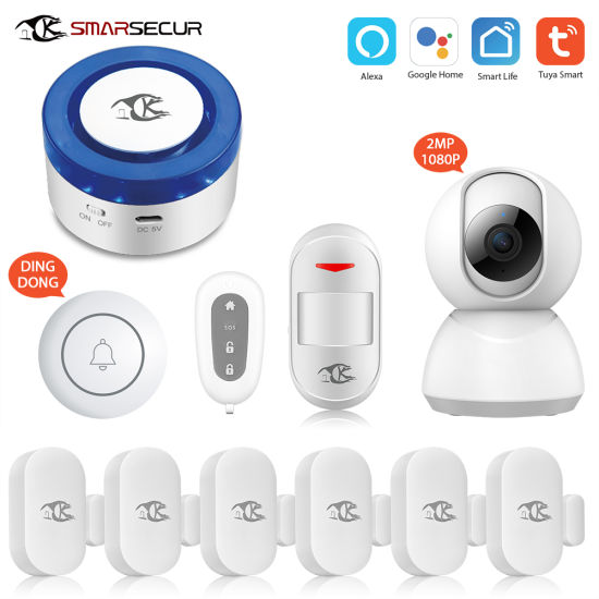 Smarsecur Wi-Fi Tuya Smart Life Tuya Sos Emergency Bottom Home Security  Camera Alarm System