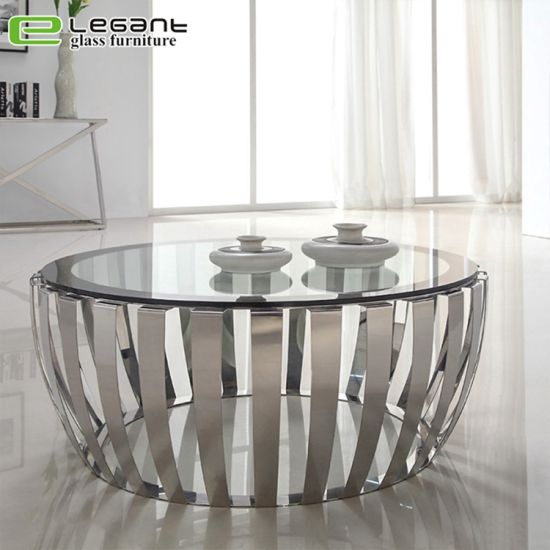 China Black Painted Tempered Glass Top Round Coffee Table China