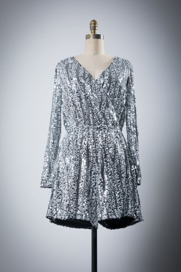 Girl Sequins Stage Long Sleeve Party Evening Drees