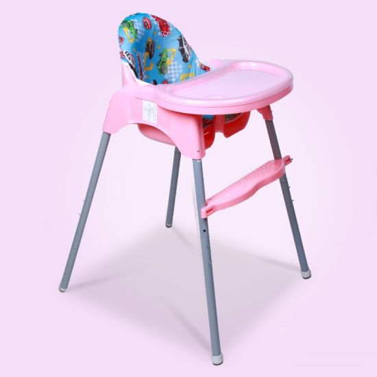 Thicker Steel Pipe Baby High Chair Multifunction Folding Highchair Baby Feeding Chair with Double-Layer Plate