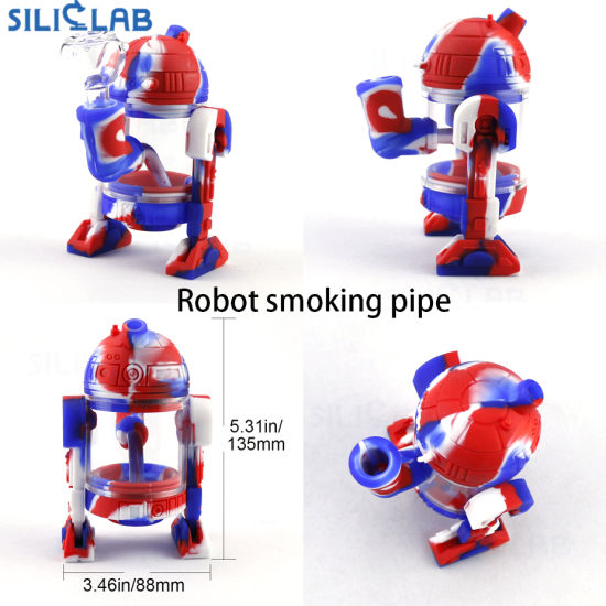 Noctilucent Rpbot Shape Silicone Water Pipe Hookah Shisha Glass Smoking Pipe pictures & photos