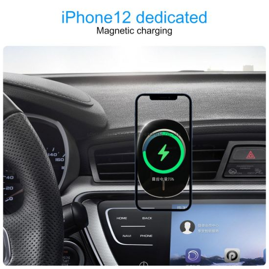 Magnetic Wireless Car Charger, 15W Fast Charging Air Vent Phone Holder Compatible with iPhone 12/12 Mini/12 PRO/12 PRO Max, Cell Phone Auto-Clamping Car Mount C