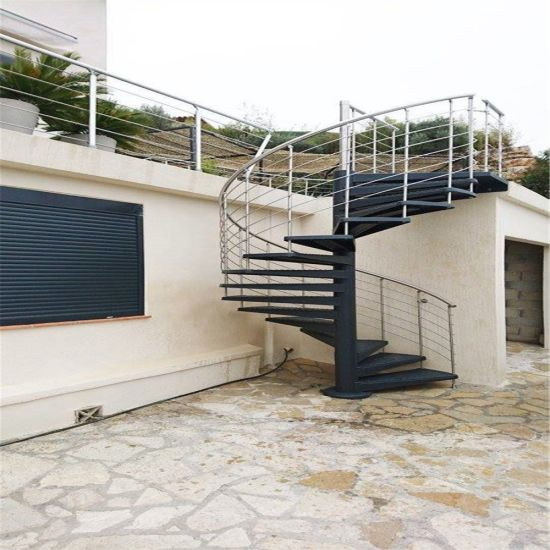 Carbon Steel Material Outdoor Use Metal Galvanized Spiral Staircase Design