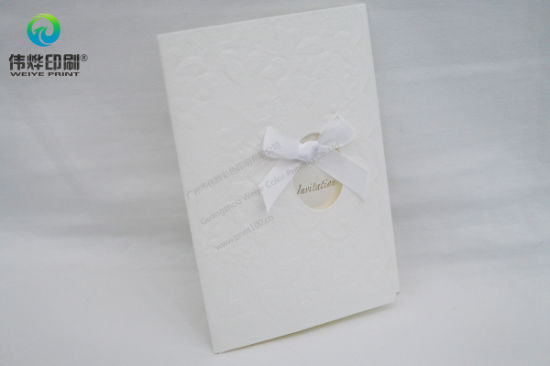 Elegant Pure White Embossing Paper Printing Gift Card (Bowknot) pictures & photos