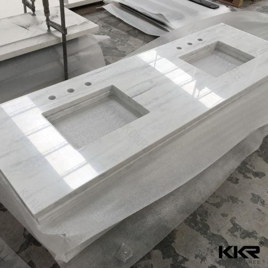 Kkr Artificial Marble Double Sink Bathroom Vanity Top