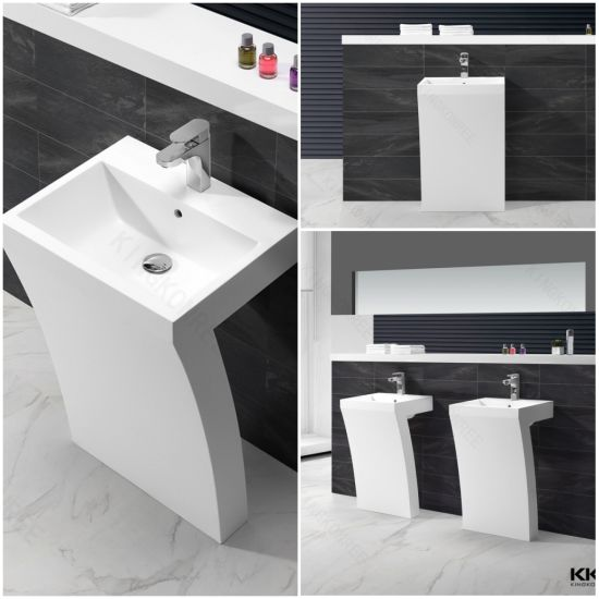 White Marble Pedestal Washing Basin Used for Bathroom