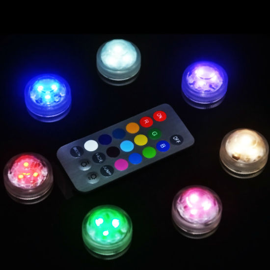 Multicolor RGB Wedding Party Decoration 3 LED Vase Submersible Tea Light with Remote