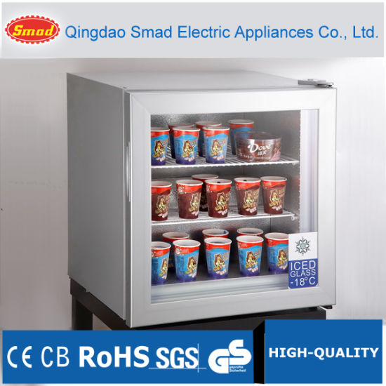 China Tabletop Mini Glass Door Ice Cream Display Fridge Freezer