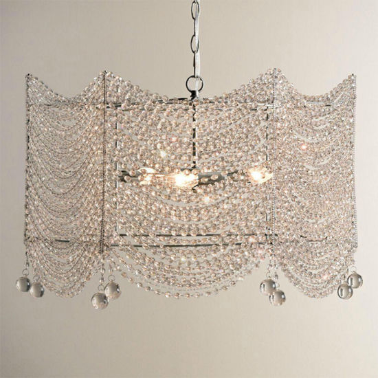 China Square Clear Crystal Chandelier Lighting French