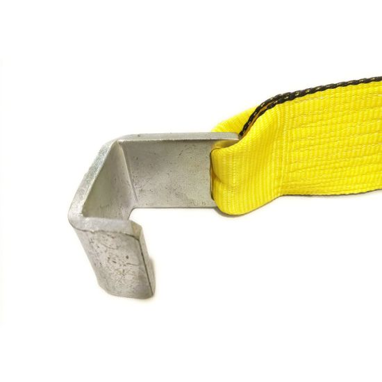 2 x 20 Winch Strap with Flat Hook Yellow