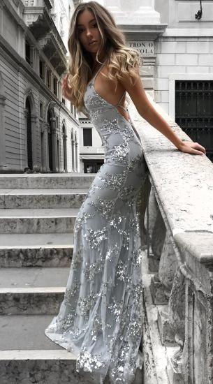 Amazon Aliexpress Super Sexy V-Neck Slim Fit Long Blue Dress