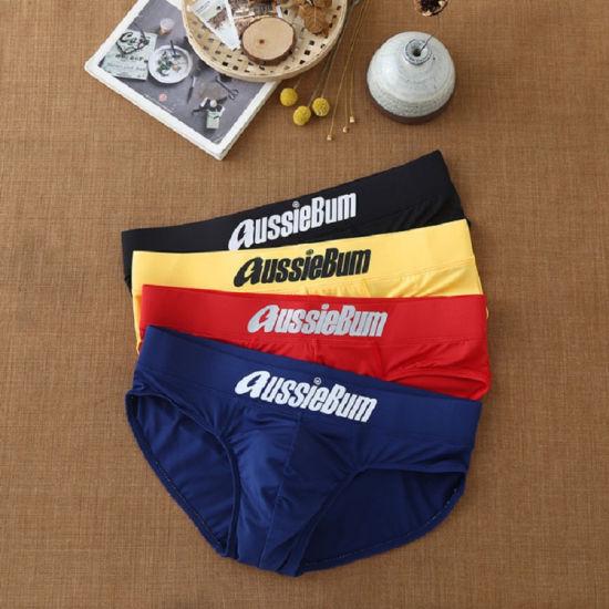 Men's Pure Color Brief Boxing Underwear