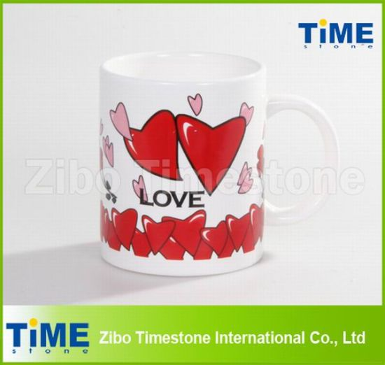 11oz Valentine′s Day Heart Design Porcelain Lovers Mug pictures & photos