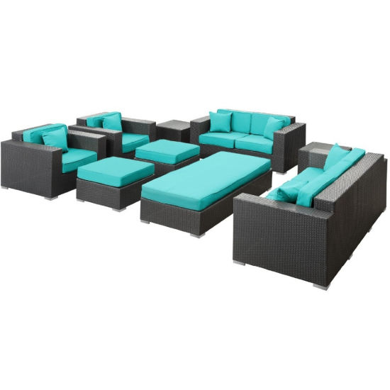 Outdoor Patio Sofa 9PC Ms-276 Lowes Wicker Patio Furniture
