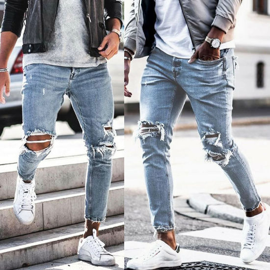 New Arrival Men's Fashion Pantalones-Jeans Skinny Light Blue Ripped Denim Jeans for Men