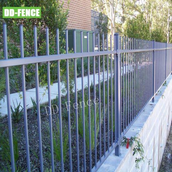 Powder Coat Cheap Wrought Iron Welded Tubular Picket Fence for Villa Garden House Factory School Playground Boundary Perimeter