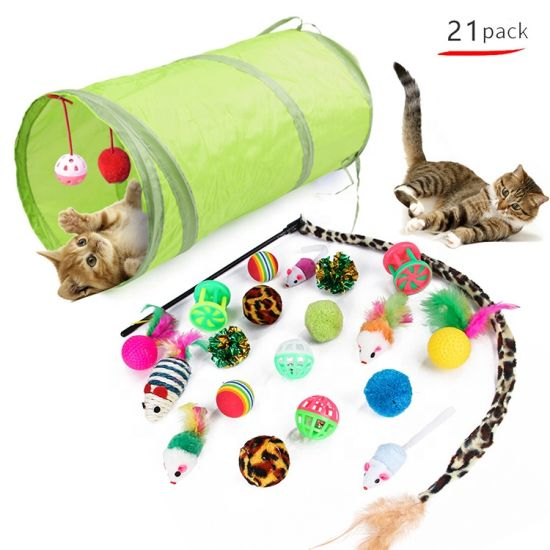 7-27 PCS Retractable Cat Toys with 2 Way Tunnel