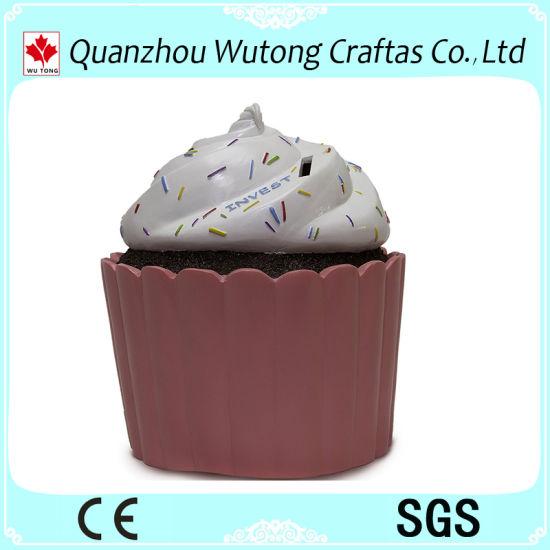 China Polyresin Kids Gifts Cake Design Coin Bank Resin Money Box