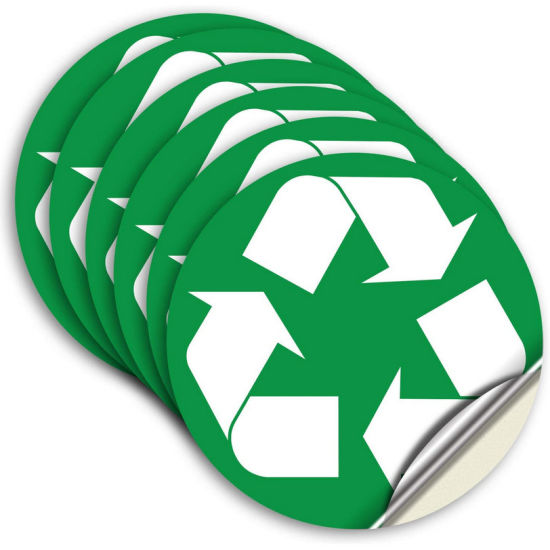 Self-Adhesive Vinyl Trash Can Bins Sign Decal Recycle Sticker