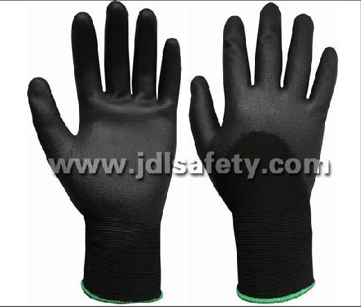 Personal Protetive Equipment Packing Small Black Nylon Work Glove with Knuckle Dipped PU (PN8010)