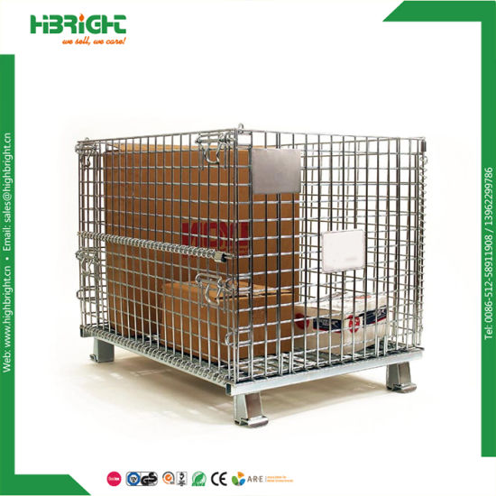 Heavy Duty Folding Custom Made Wire Mesh Pallet Storage Cage Stacking Basket Container Box pictures & photos