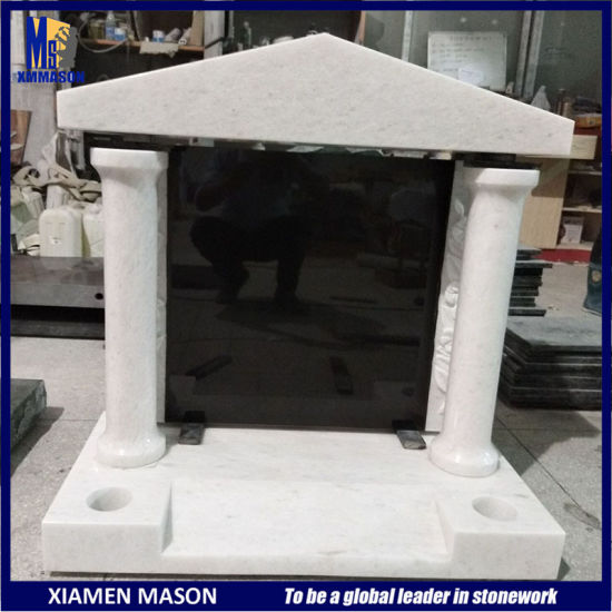 Best Price White Marble Black Granite Monument with Temple Design