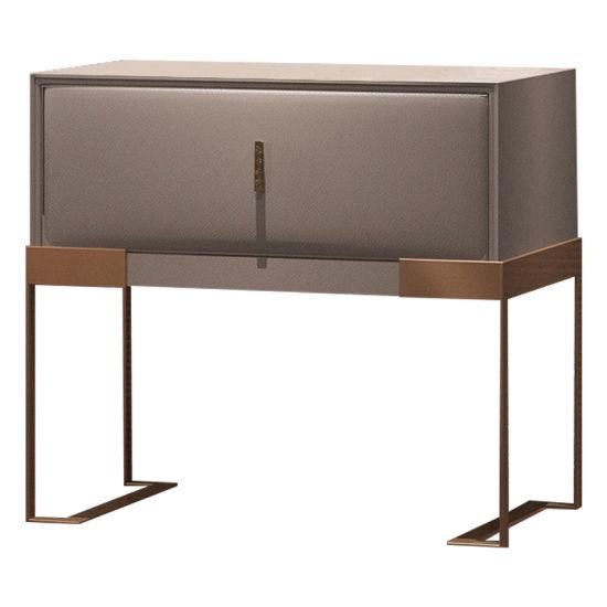 Post-Modern Modern Bedroom Furniture Metal Wood Sofa End Bedside Table