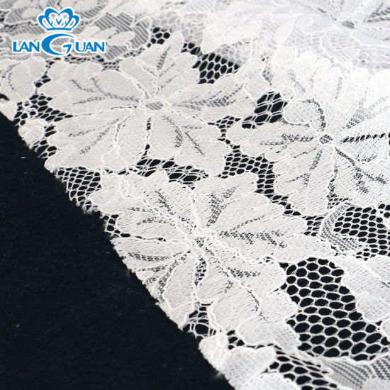 Popular Design 100% Polyester Knitted Lace Fabric for Wedding