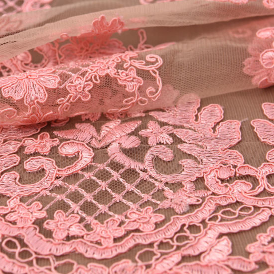 Embroidered Alencon Wedding Dress Fabric Lace pictures & photos