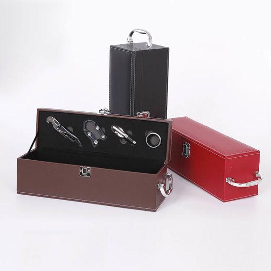 Cheap Custom Luxury Wine Box Black Leather Single Wine Glass Box