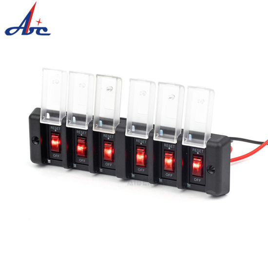 6 Gang Reset Circuit Breakers Waterproof 12V Red Button Switch