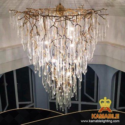 Modern Decorative Home Hotel Villa Brass Glass Pendant Light (KSE-0004)
