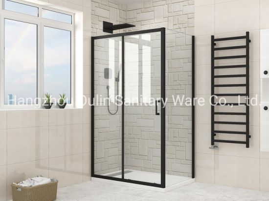 Matt Black Finished Square or Rectangular Shower Enclosure in Tempered Glass - Various Sizes Available