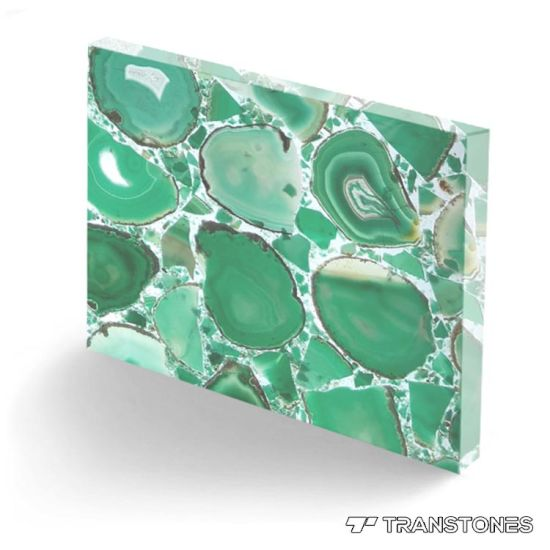 Natural Precious Stone Green Agate Slice Tiles/Stone Table Top