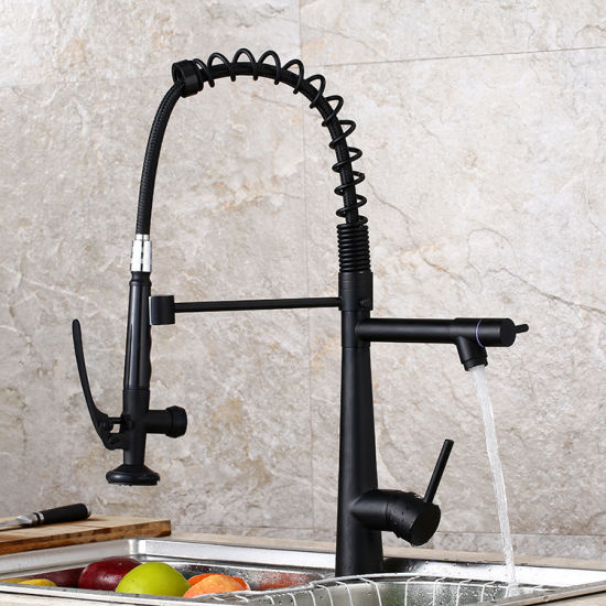 China Kitchen Faucet Three Handles One Hole Standard Spout