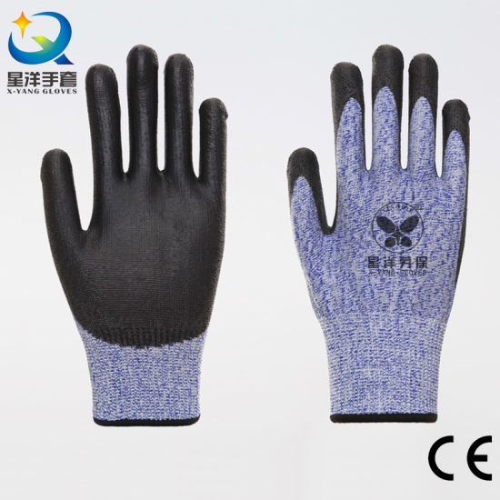 Level 5 Hppe Cut Resistant Resistance Hand PU Coated Safety Work Gloves
