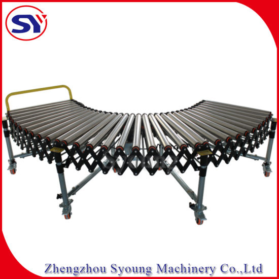 Galvanized/Stainless Steel Mobile Telescopic Bag Package Roller Conveyor