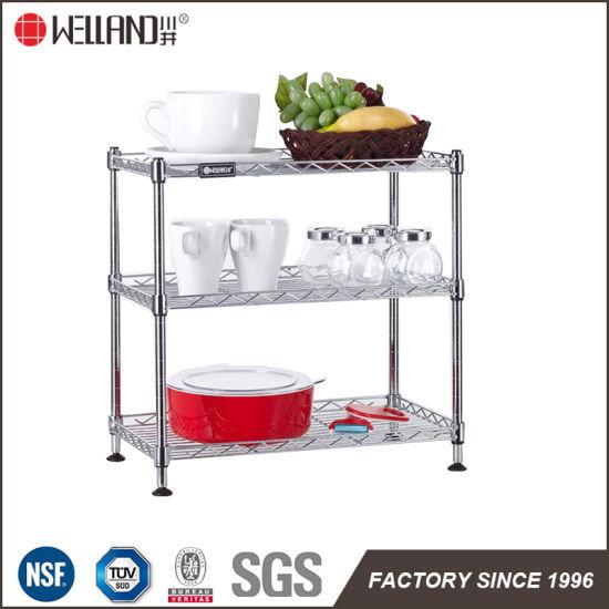 Modern DIY Chrome Metal Kitchen Wire Shelves Rack, NSF Approval