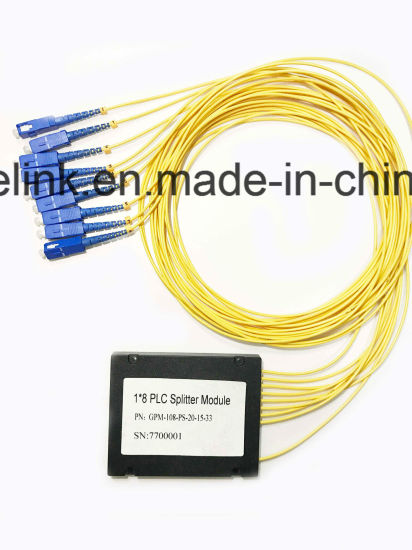 Gpon Telecommunication Colored Fiber 1X8 PLC Splitter Systems Plastic Box pictures & photos