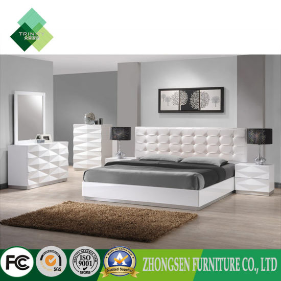 Professional Custom Made Full King Size White Master Bedroom Furniture Sets  for Adults