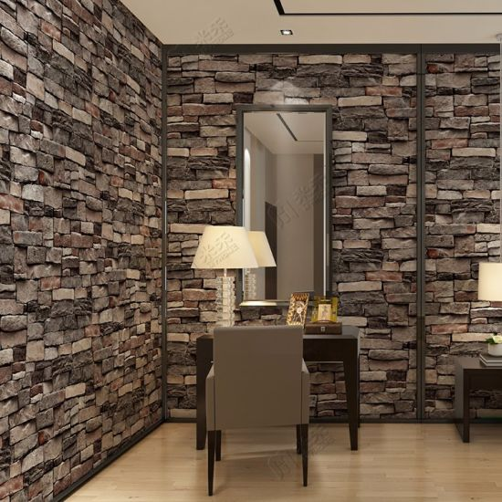 Amazing Interior Design PVC Vinyl 3D Brick Wallpaper Wall Papers Home Decor