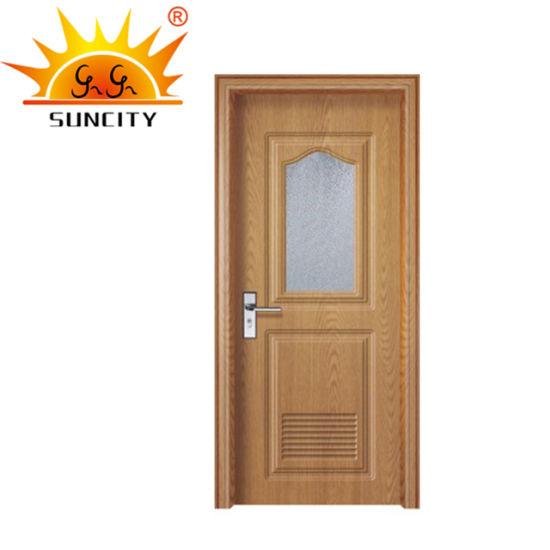Interior Frosted Glass Price PVC Bathroom Door with Window (SC-P128)