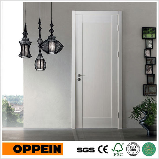 China Modern White Flat Wooden Panel Interior Room Door Ydf007d