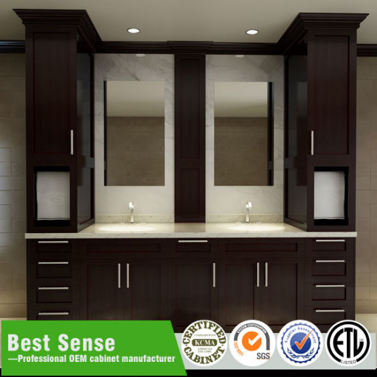 Double Sink Expresso Solid Wood Bathroom Cabinet